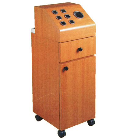 - Pibbs - Short Tower Storage Cabinet With Accessory Holder On Wheels