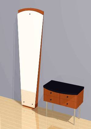 Mac - Vertical Wall-Mounted Mirror and Storage Unit #1031