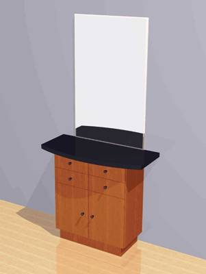 Mac - Wall Mounted Station w/ Mirror, Drawers & Cabinets #1042