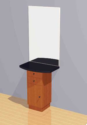 Mac - Wall Mounted Station w/ Mirror, Drawers & Cabinets #1043