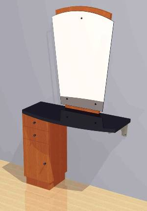 Mac - Wall Mounted Station w/ Mirror, Drawers & Cabinets #1045