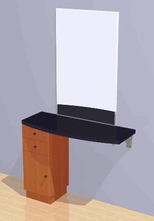 Mac - Wall Mounted Station w/ Mirror, Drawers and Cabinet #1046
