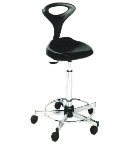Mac - Pouff Black Stool with Backrest - #56034 (R2GO)
