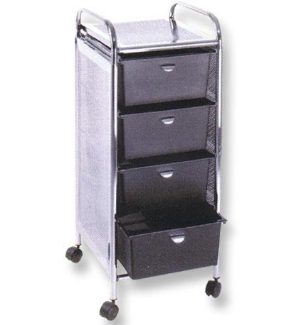 Pibbs - 4-Drawer Cart Metal Frame with Sides