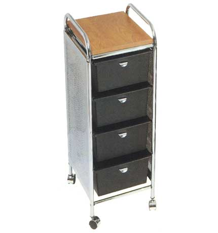 Pibbs - 4-Tier Cart with Metal Side Panels with ART69 Toppers