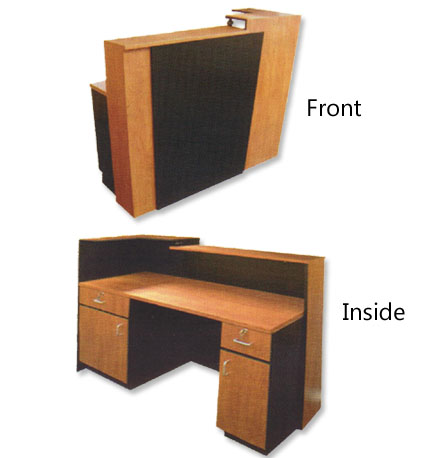 Pibbs - 5 ft. Reception Desk Available in Wild Cherry with Black Accent