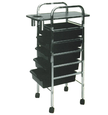 Pibbs - Salon Evolution 5 Shelf Tray - Mica Top - Black with Holder