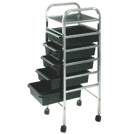 Pibbs - Salon Evolution 5 Shelf Utility Tray - Mica Top - Black