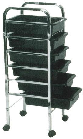 Pibbs - Salon Evolution 6 Shelf Utility Tray - Black