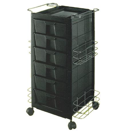 Pibbs - Salon Evolution Go-Go Kart - 6 Shelf - 4 Chrome Side Pockets