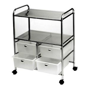 Pibbs - White Work Cart with 4 Black Storage Drawers