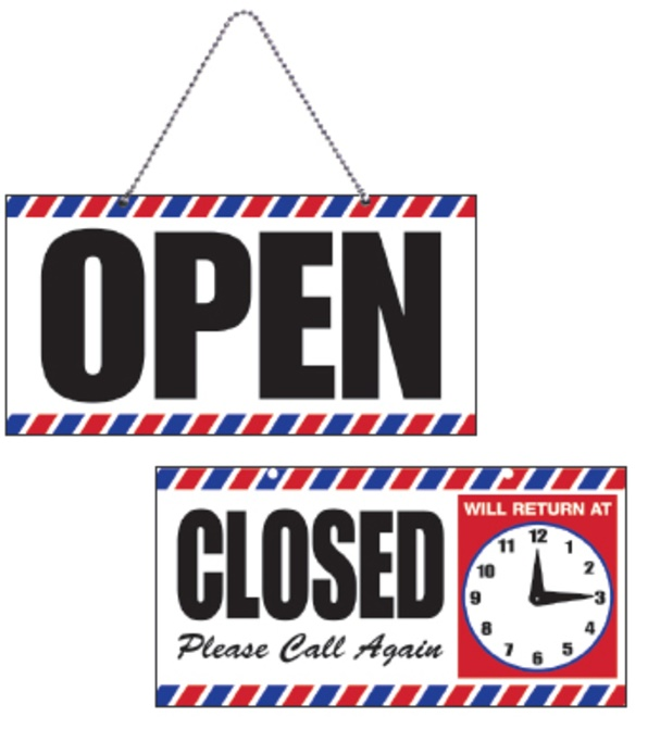 Samson - Open/Closed Sign with Clock