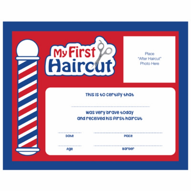 Samson for My first haircut certificate template