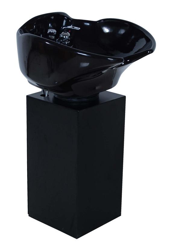 Samson - Black Porcelain Tilt Shampoo Bowl & Metal Pedestal