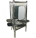 Pibbs - Deluxe 3-Way Styling Station with Mirror, Shelves & Clamps