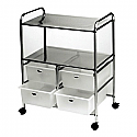 Pibbs - White Work Cart with 4 Black Storage Drawers