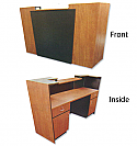 Pibbs - 7 ft. Reception Desk Available in Wild Cherry with Black Accent