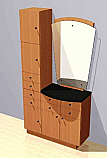 Mac - Styling Station w/ Mirror and Vertical Storage Unit #1010